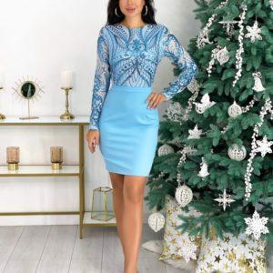 Заказать вечернее женское платье мини голубого цвета с узором (размер 42-48) по низким ценам