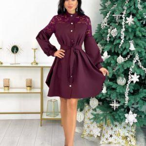 Купить марсала женское платье-рубашка с гипюром и необычными рукавами (размер 42-48) выгодно