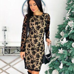Купить беж женское элегантное платье с узорами на сетке (размер 42-48) выгодно