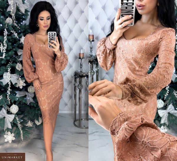 Заказать пудра выгодно кружевное платье с напылением и длинным рукавом для женщин