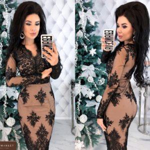 Приобрести по низким ценам Вечернее кружевное платье с сеткой черно-бежевое женское