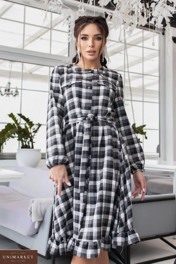 Купить серое женское шерстяное платье-рубашка в клетку (размер 42-48) онлайн