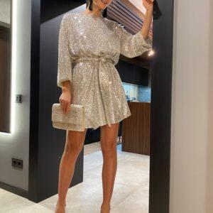 Купить дешево женское платье в пайетках оверсайз (размер 42-48) цвета ваниль
