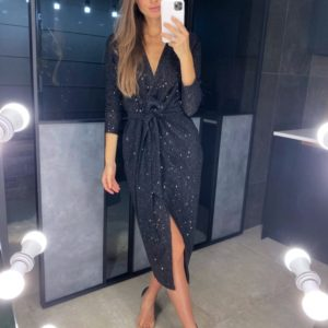 Купить черное женское платье на запах с напылением и пайеткой в интернете