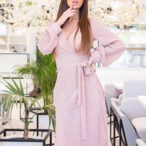 Купить пудра платье на запах из сияющего трикотажа рубчик (размер 42-48) для женщин в интернете
