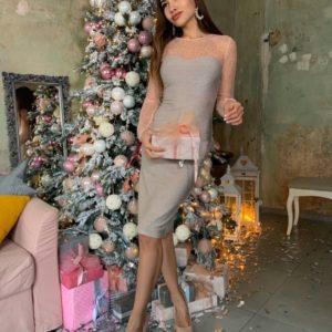 Заказать онлайн персиковое вечернее платье с люрексом и камнями в интернете для женщин