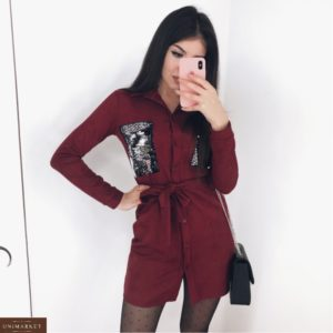 Купить замшевое платье-рубашка бордовое с пайетками для женщин в интернете