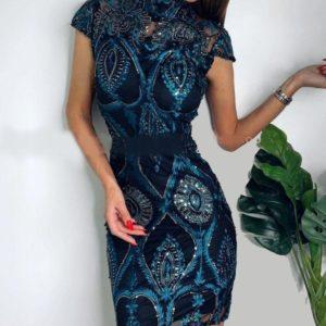 Заказать по скидке изумрудное платье расшитое шелковой нитью и пайеткой для женщин