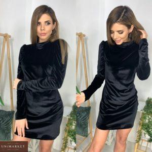 Заказать черное бархатное платье мини под шею для женщин по скидке