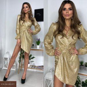 Купить женское платье из люрекса с асимметричным подолом золотое онлайн