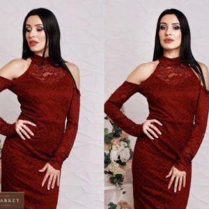 Заказать женское кружевное платье с открытыми плечами цвета бордо онлайн