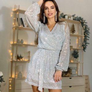 Купити жіночу сріблясту святкову сукню міні з паєтками в інтернеті
