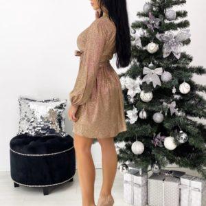 Купить по скидке трикотажное платье из люрекса с поясом (размер 42-48) для женщин цвета золото