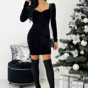 Приобрести черное бархатное платье мини с длинным рукавом (размер 42-48) для женщин недорого