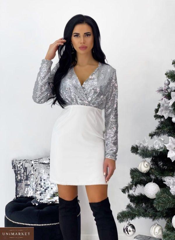 Заказать женское цвета серебро платье с пайетками с декольте (размер 42-48) выгодно
