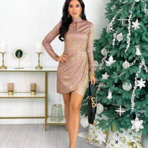 Купить золотое женское трикотажное закрытое платье с люрексом (размер 42-48) по скидке