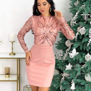 Приобрести цвета пудра вечернее женское платье мини с узором (размер 42-48) дешево