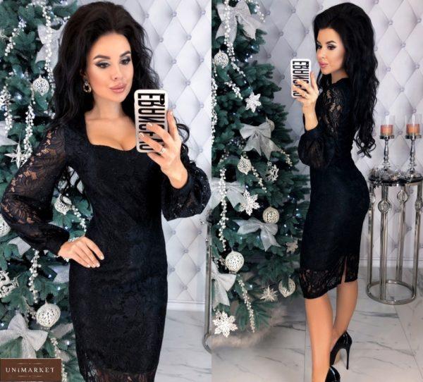 Приобрести по низким ценам черное кружевное платье с напылением и длинным рукавом для женщин
