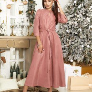 Купить цвета фреза женское платье макси из микровельвета с поясом (размер 42-48) выгодно