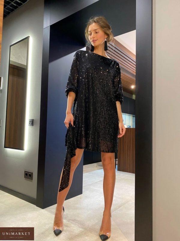 Заказать по низким ценам женское черное платье в пайетках оверсайз (размер 42-48)
