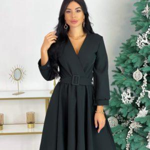 Заказать женское платье с декольте и поясом (размер 42-48) черного цвета в Украине