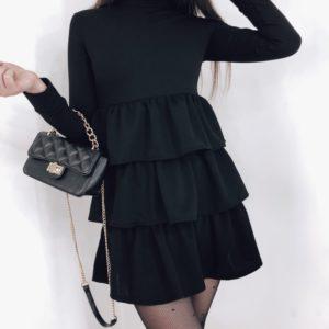 Приобрести женское платье-гольф с рюшами черного цвета по скидке