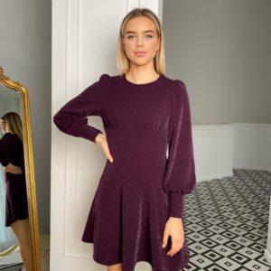 Приобрести недорого женское приталенное платье мини с люрексом (размер 42-48) цвета баклажан