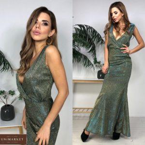 Приобрести женское блестящее платье в пол с глубоким декольте цвета хаки дешево