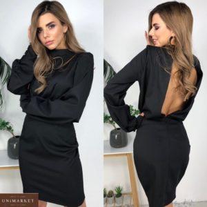 Придбати чорне жіноче плаття з відкритою спиною і довгим рукавом по знижці