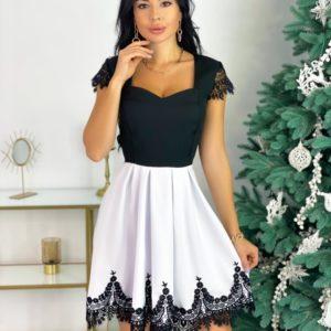 Купить женское белое платье с отделкой из французского кружева (размер 42-48) в интернете