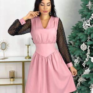 Заказать онлайн пудра для женщин платье с длинными рукавами-сеткой (размер 42-48) на корпоратив
