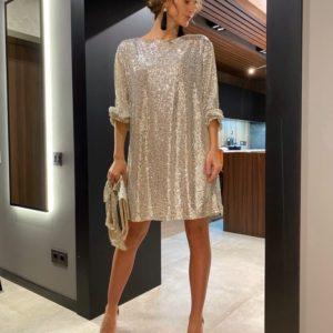 Приобрести ваниль женское платье в пайетках оверсайз (размер 42-48) онлайн