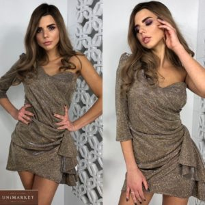 Заказать женское коктейльное блестящее платье на одно плечо цвета мокко по скидке