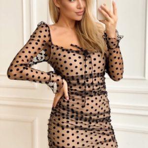 Заказать черного цвета женское нежное платье мини с сеткой в горошек (размер 42-48) в интернете