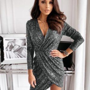 Купить женское Эффектное вечернее платье с v-образным вырезом из пайетки цвета графит дешево