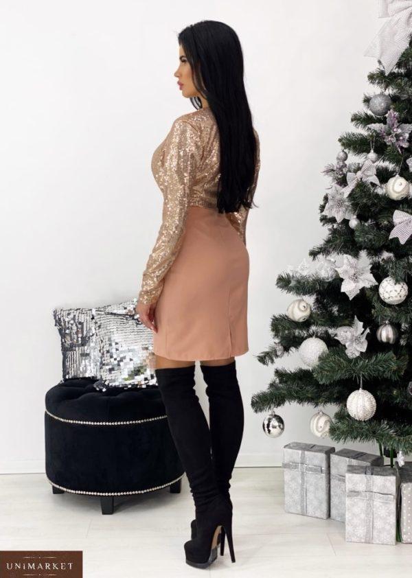 Приобрести женское платье цвета пудра с пайетками с декольте (размер 42-48) недорого