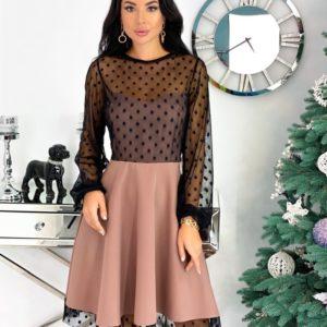 Купить цвета кофе женское коктейльное платье с сеткой в горошек (размер 42-48) по скидке