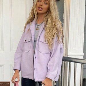 Заказать женскую рубашку цвета фиалка из плотного турецкого кашемира недорого