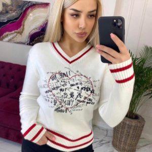 Придбати білого кольору светр з V-подібним вирізом з принтом для жінок по знижці