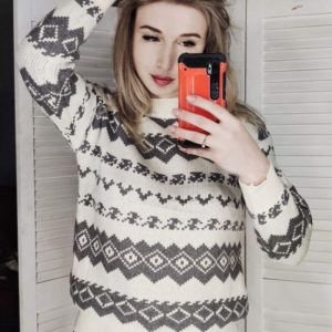 Купить серый свитер машинной вязки с узором для женщин в интернете