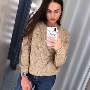Придбати бежевий в інтернеті в'язаний светр з V-подібним візерунком для жінок