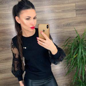 Заказать черный свитер для женщин с рукавами из сетки с вышивкой онлайн