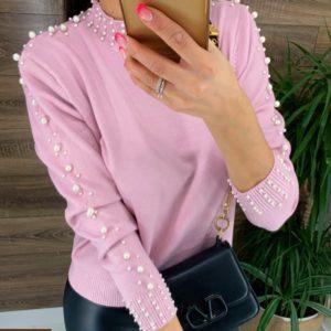 Приобрести женский нежный свитер розовый с жемчужинами на подарок