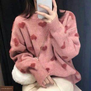 Замовити червоний жіночий м'який теплий светр по знижці з сердечками