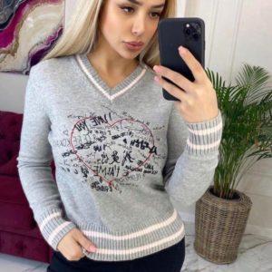 Замовити сірий светр для жінок з V-подібним вирізом з принтом онлайн