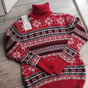 Приобрести выгодно женский зимний принтованный свитер с шерстью (размер 42-48) красного цвета