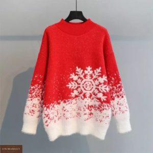 Замовити червоний жіночий новорічний светр зі сніжинкою в інтернеті