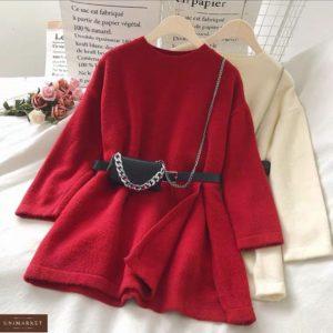 Заказать по скидке тунику из ангоры со стильным пояском красный женский