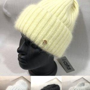 Купить серую, черную, желтую женскую пушистую шапку с двойным отворотом дешево