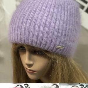 Купить женскую зимнюю цвета сирень, красную, серую, пудра пушистую шапку с высоким отворотом недорого